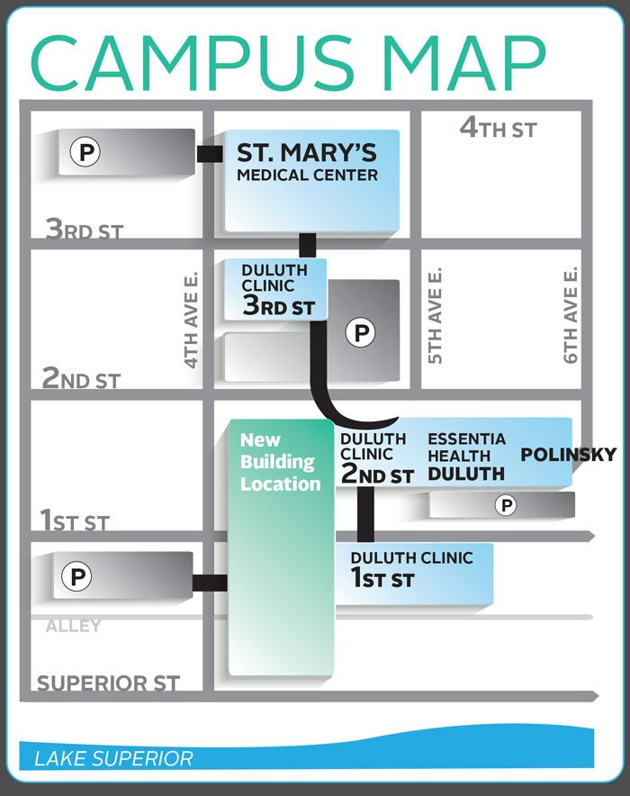 Campus map changes from Vision Northland that include: St. Mary's Medical Center, Duluth Clinic 3rd St., Duluth Clinic 2nd St., Essentia Health Duluth, Polinsky Building, Duluth Clinic 1st St., and New building location.