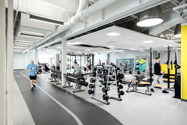 Hermantown Wellness Center fitness area and walk/jog/run track