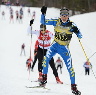 Essentia patient, Steven Morales cross country skiing in the Birkebeiner