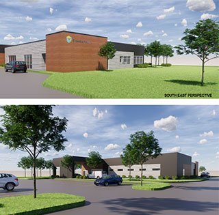 Essentia Health Cloquet Clinic rendering showing two different side of the building and parking area